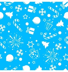 Christmas seamless background blue vector image vector image
