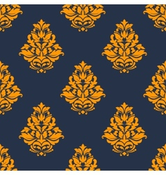Damask seamless pattern with orange floral tracery vector