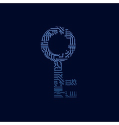 Data security icon circuit board key vector