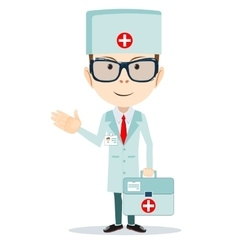 Doctor with first aid bag vector