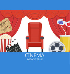 drinks and popcorn glasses for movie vector image vector image
