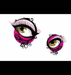 eyes with fractal paisley vector image