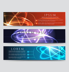 glowing banner set with light effects vector image vector image