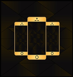 Gold smart phone vector