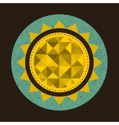 Golden sun in retro style with triangles vector