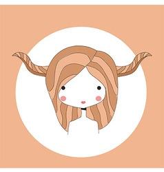 Horoscope Taurus sign girl head vector image