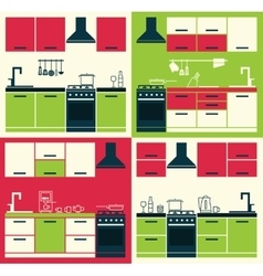 Modern Kitchen Cabinets and Household Equipment vector image vector image