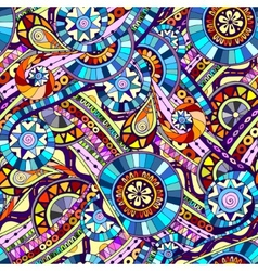 Original mosaic drawing tribal doddle ethnic vector image