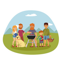 picnic setting with fresh food hamper basket vector image