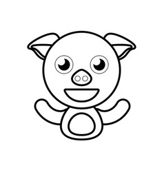 pig animal toy outline vector image