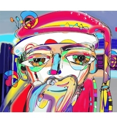 Portrait of santa claus in contemporary vector