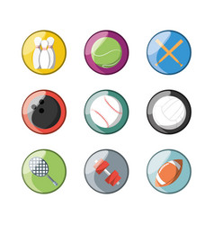 Set flat icon ball sport vector