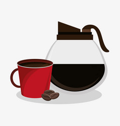 Set glass jar of coffee with porcelain mug and vector