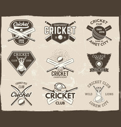 set of retro cricket sports template logo designs vector image