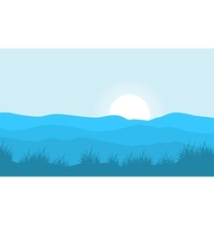Silhouette of grass on hill backgrounds vector