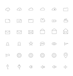 Simple thin outline Icon set vector image