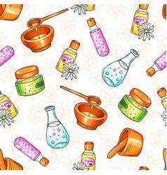 Spa cosmetics seamless pattern hand vector