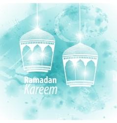 Watercolor light blue blob ramadan kareem vector