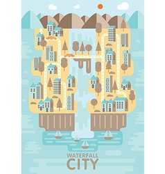 Waterfall city blue brown and orange tone concept vector image