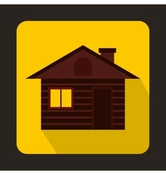 Wooden log house icon flat style vector image vector image