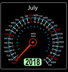 year 2018 calendar speedometer car in concept vector image vector image