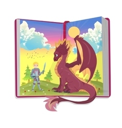 Open book of fairytales with knight and dragon vector