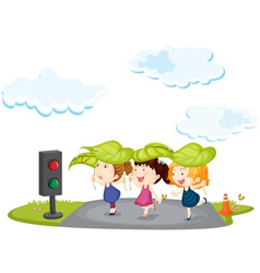 kids crossing street vector image