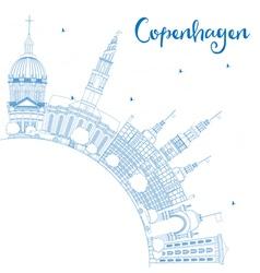 Outline Copenhagen Skyline with Blue Landmarks vector image