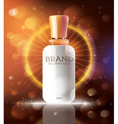Cosmetic ads template with white bottle vector