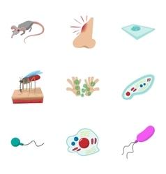Disease malaria icons set cartoon style vector