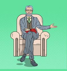 Pop art senior businessman sitting in chair vector