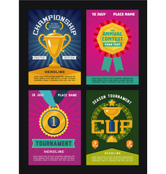 Set of posters for competitions with trophy and vector