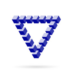 impossible triangle of cube blocks over white vector image