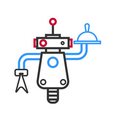 Outlined robot waiter with meal on tray and napkin vector