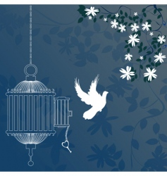 bird and cage vector image