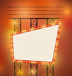 Retro cinema theater bright bulb sign vector