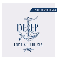 Nautical anchor graphic design - for t-shirt vector