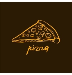 Pizza slice handdrawn vector