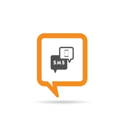 square orange speech bubble with mobile phone and vector image