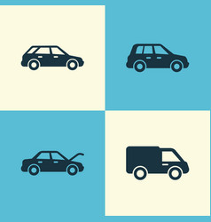 Automobile icons set collection of car truck vector