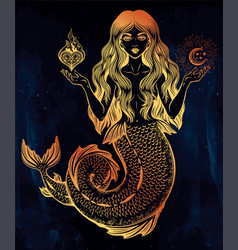 beautiful magic mermaid girl with heart and moon vector image vector image