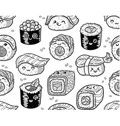 Black and white sushi and sashimi seamless pattern vector