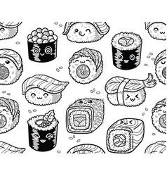 black and white sushi and sashimi seamless pattern vector image