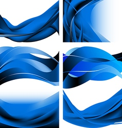 Blue dark waves isolated set on white background vector