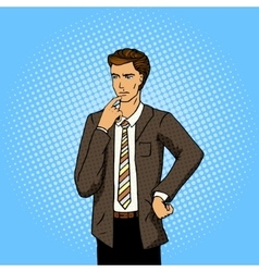 Businessman thinking pop art vector image vector image