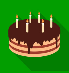 Chocolate cake icon in flate style isolated on vector