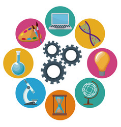 color background mechanism gears with icons vector image