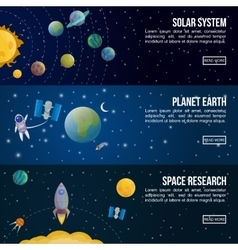 Colored Space Universe Banner Set vector image vector image