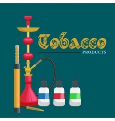 Colorful and modern red hookah isolated with vector image