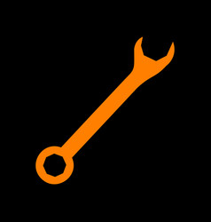Crossed wrenches sign orange icon on black vector